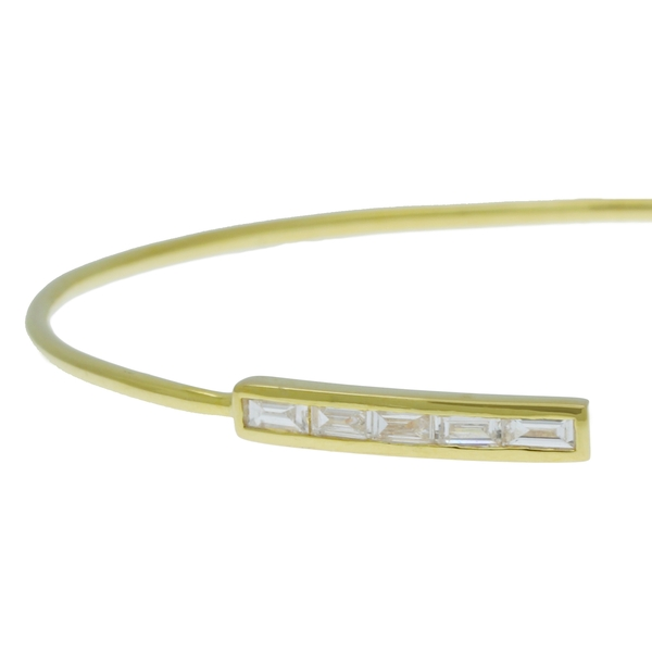 Open Cuff With Baguette Diamonds - Item # HM0363 - Reliable Gold Ltd.