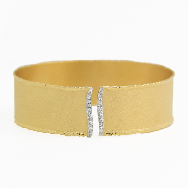 Open Front Gold Cuff Bracelet With Diamonds - Item # B0167 - Reliable Gold Ltd.