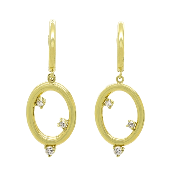 Gold Hoop Earrings With Diamonds - Item # RFM03 - Reliable Gold Ltd.