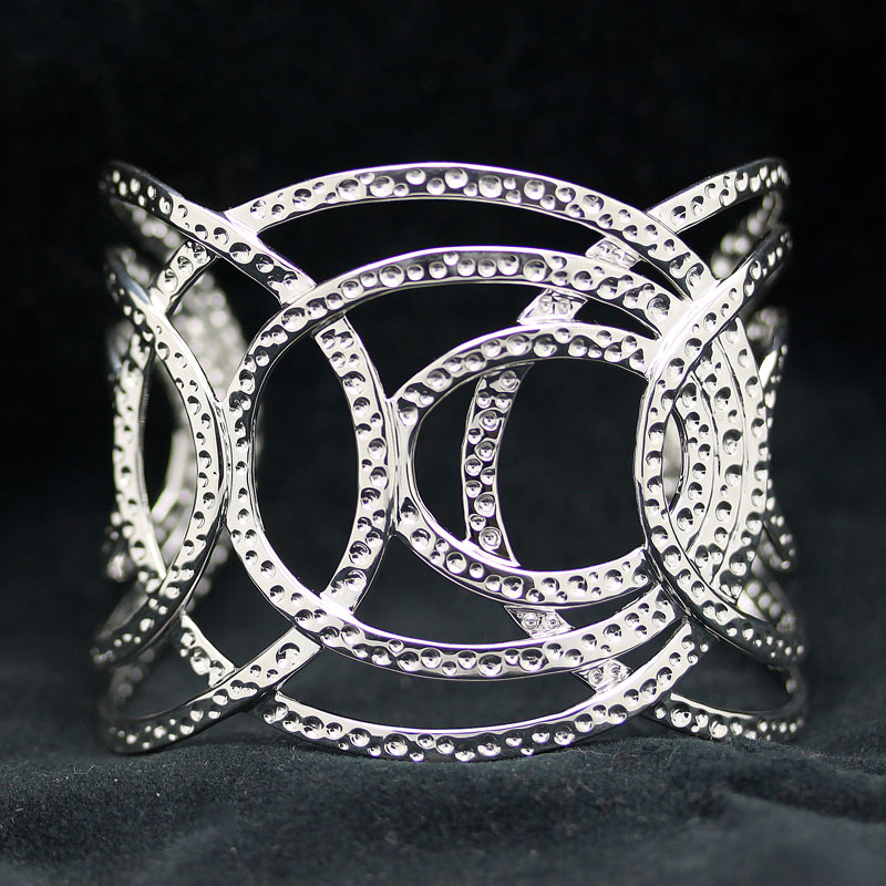 Openwork Wide Sterling Silver Cuff Bracelet - Item # B0009 - Reliable Gold Ltd.