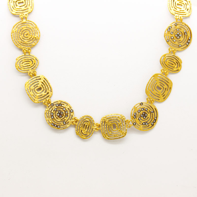 24K Gold Plated Openwork Necklace With Diamonds - Item # N0033 - Reliable Gold Ltd.