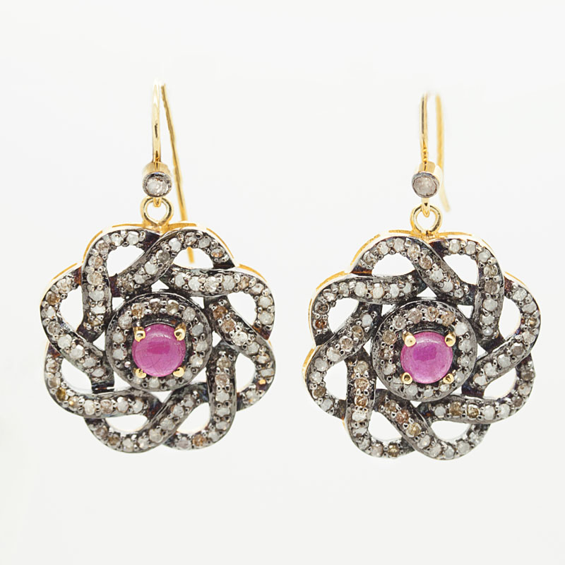 Open Knot Earrings With Rubies And Diamonds - Item # ER-HC-11 - Reliable Gold Ltd.