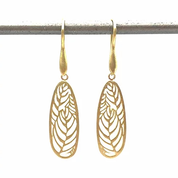 Openwork Satin Finish Gold Drop Earrings - Item # OEM001 - Reliable Gold Ltd.