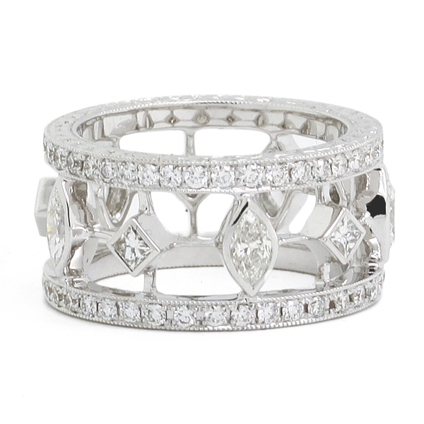 Wide Openwork Diamond Band - Item # JHM062 - Reliable Gold Ltd.