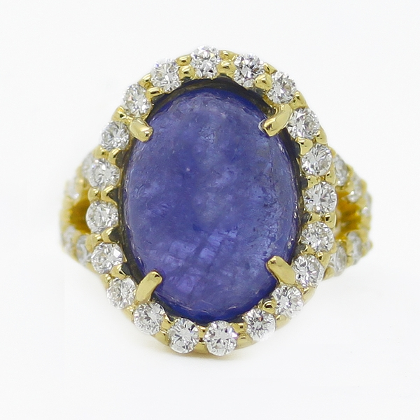 Large Tanzanite Ring With Diamonds - Item # R0424 - Reliable Gold Ltd.