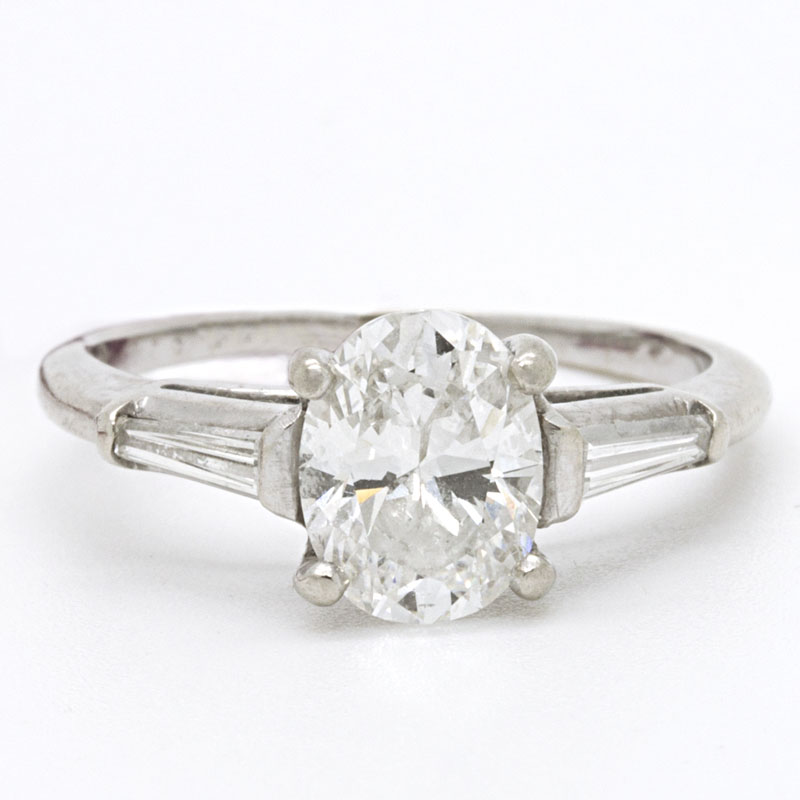 Oval Diamond And Tapered Baguette Diamond Engagement Ring - Item # R-PH-M - Reliable Gold Ltd.