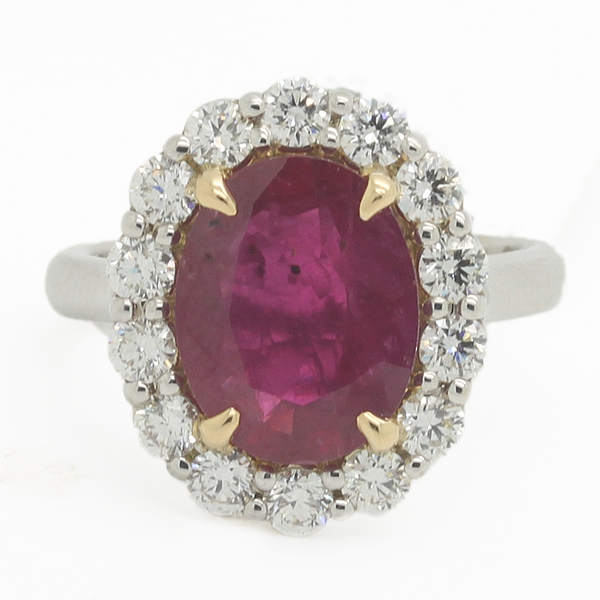 Large Ruby Ring With Diamonds - Item # JM0020 - Reliable Gold Ltd.