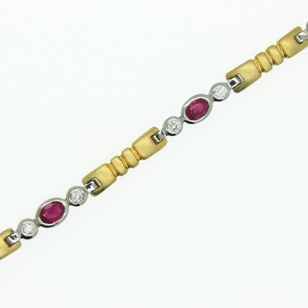 Ruby & Diamond Thin Flexible Bracelet - Item # B1289 - Reliable Gold Ltd.