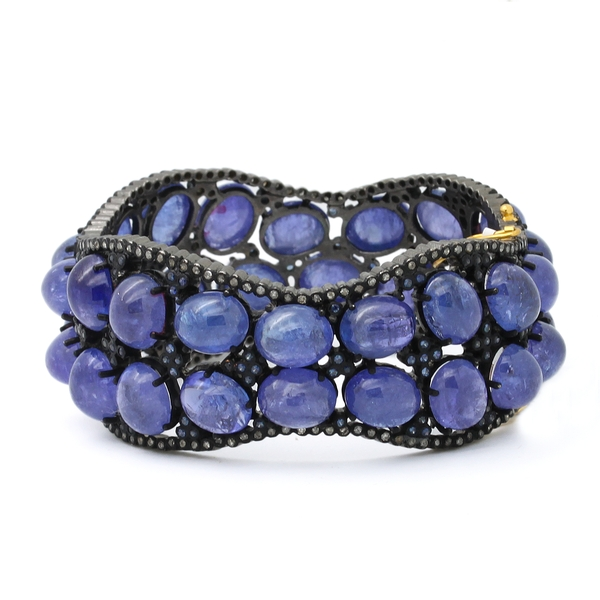 Cabochon Tanzanite Bangle Bracelet - Item # HM0392 - Reliable Gold Ltd.
