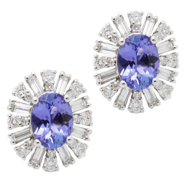 Oval Tanzanite And Diamond Button Earring  - Item # ER1634 - Reliable Gold Ltd.