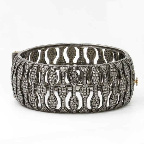 Oxidized Sterling Silver Bangle Bracelet With Diamonds - Item # HM0399 - Reliable Gold Ltd.