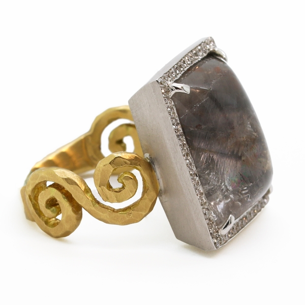 Rutilated Quartz & Diamond Ring - Item # R1616 - Reliable Gold Ltd.