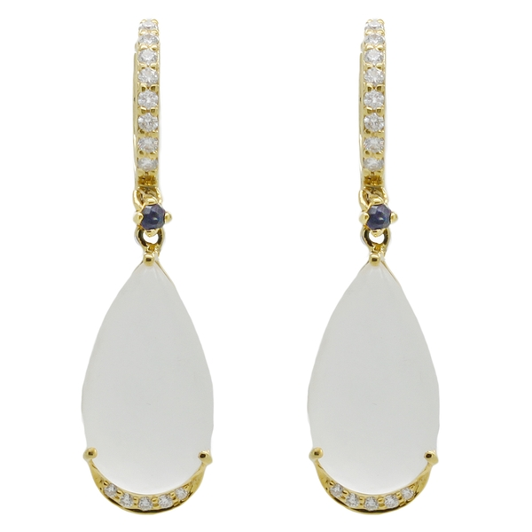 Pear Shaped Moonstone Earrings With Diamonds - Item # HM0415 - Reliable Gold Ltd.