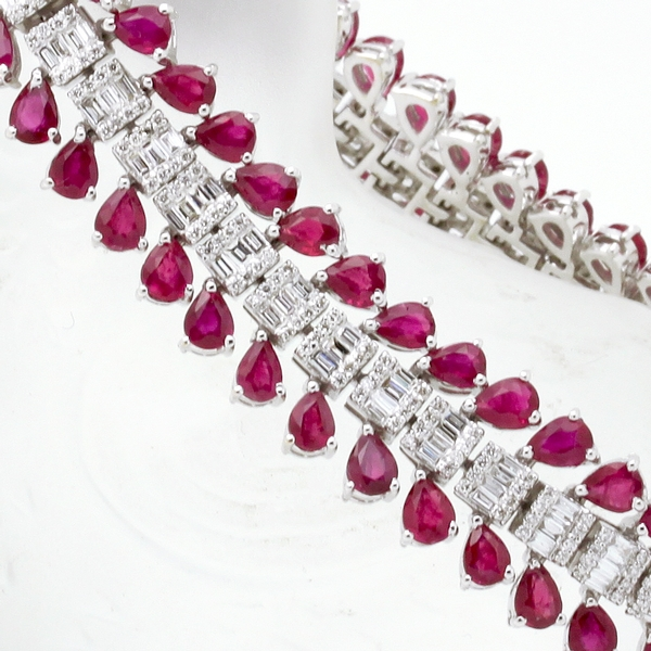 Pear Ruby & Baguette Diamond Bracelet - Item # HM0299 - Reliable Gold Ltd.