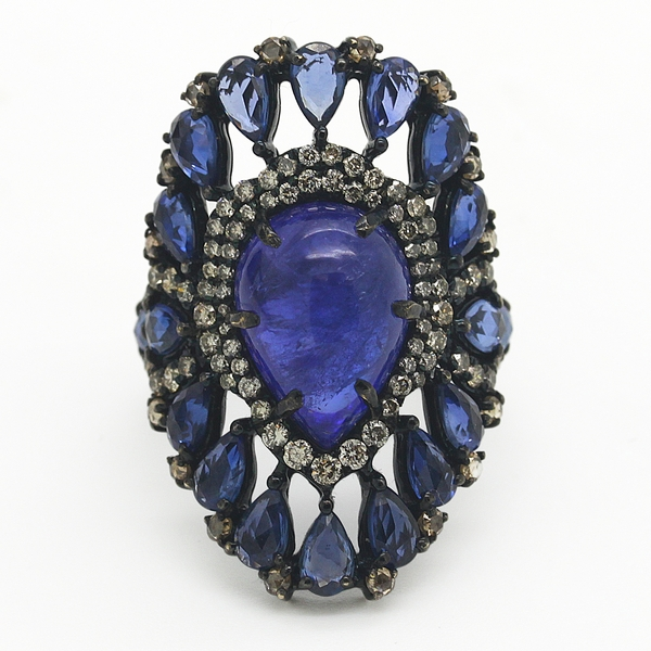 Sapphire, Tanzanite & Diamond Ring - Item # R0272 - Reliable Gold Ltd.