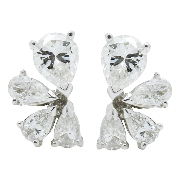 Pear Shaped Diamond Cluster Earrings - Item # JM0068 - Reliable Gold Ltd.