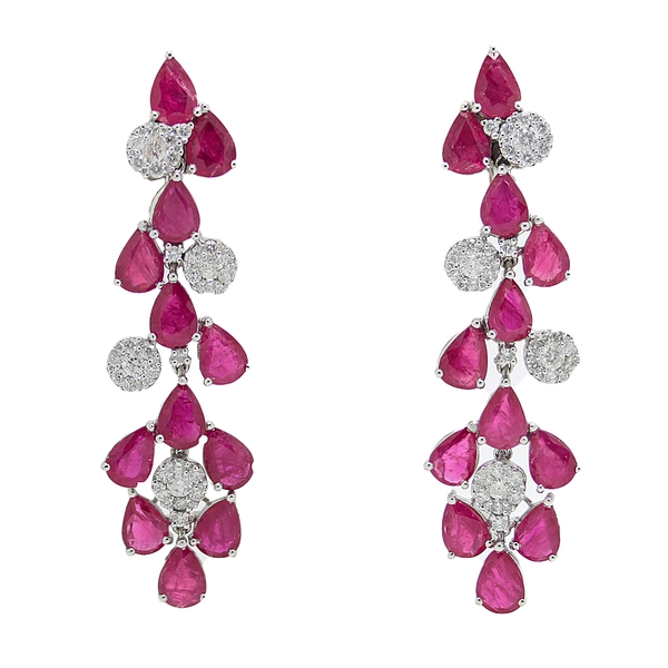 Pear Ruby & Diamond Cluster Earrings - Item # CHM014 - Reliable Gold Ltd.