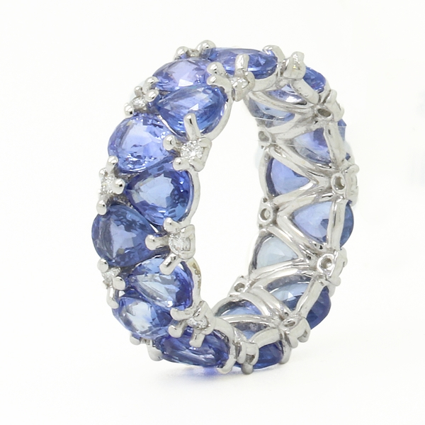 Pear Shaped Blue Sapphire & Diamond Eternity Band - Item # R1724 - Reliable Gold Ltd.