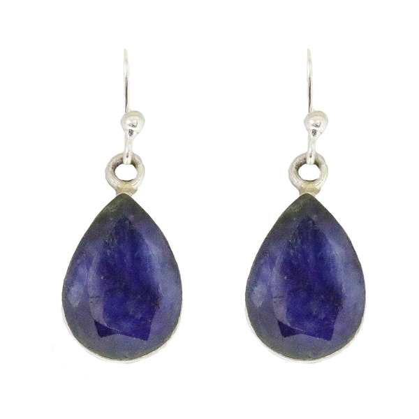 Silver Faceted Sapphire Earrings - Item # ER1725 - Reliable Gold Ltd.