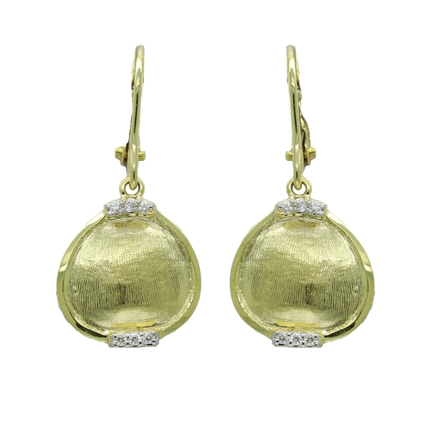 Pear Shaped Textured Gold Earring With Diamonds - Item # ER1507 - Reliable Gold Ltd.