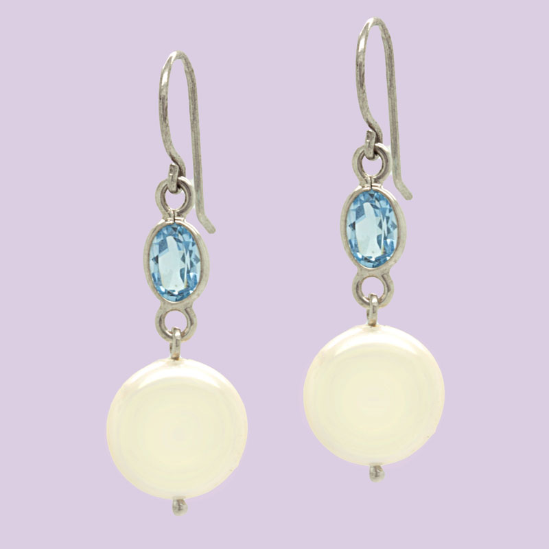 Pearl & Blue Topaz Drop Earrings In White Gold - Item # ER4908 - Reliable Gold Ltd.