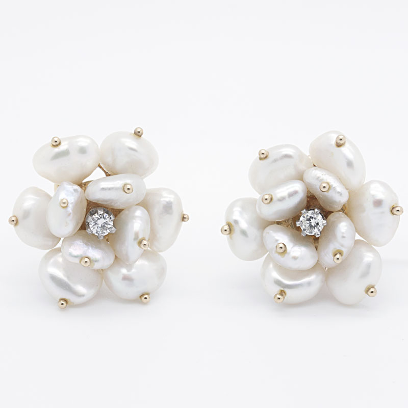 Pearl And Diamond Flower Cluster Earrings - Item # ER5000 - Reliable Gold Ltd.
