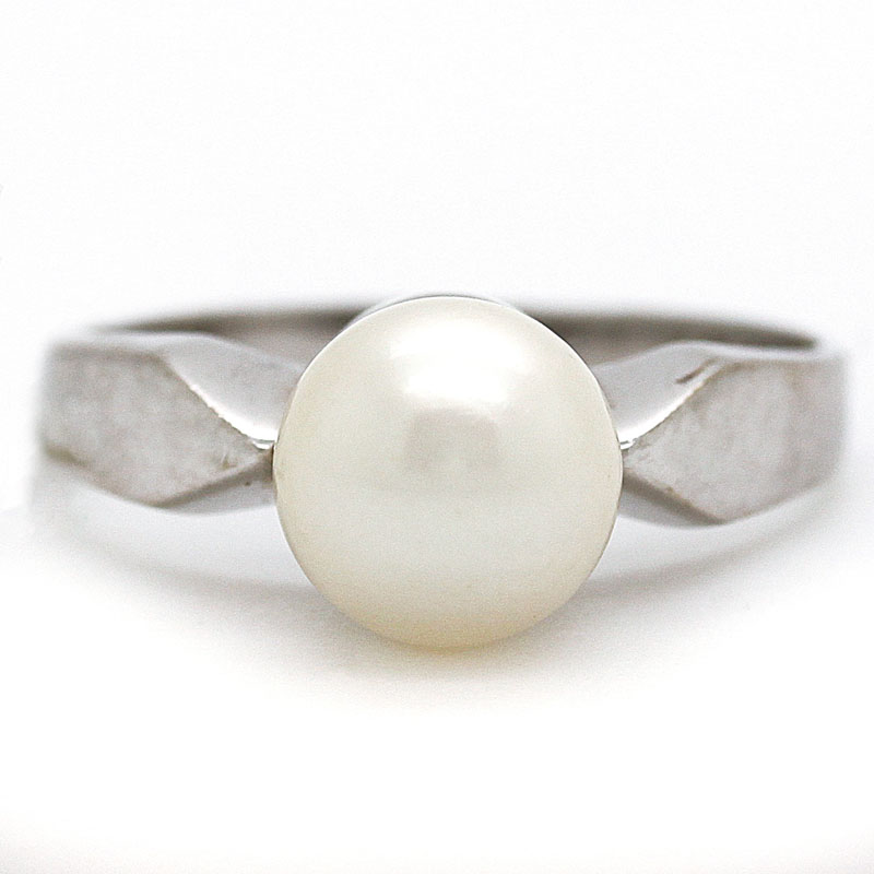 White Pearl Ring In White Gold - Item # R963A - Reliable Gold Ltd.