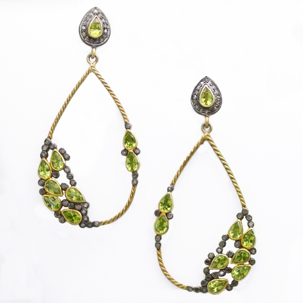 Peridot & Diamond Drop Earrings - Item # ER0376 - Reliable Gold Ltd.