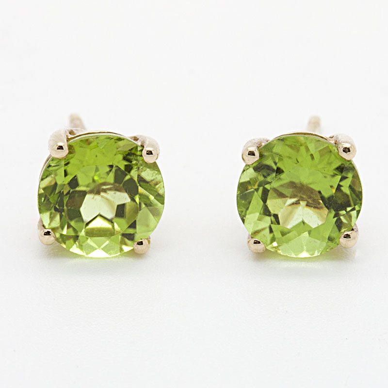 Brilliant Peridot Stud Earrings In Yellow Gold - Item # ER4354 - Reliable Gold Ltd.