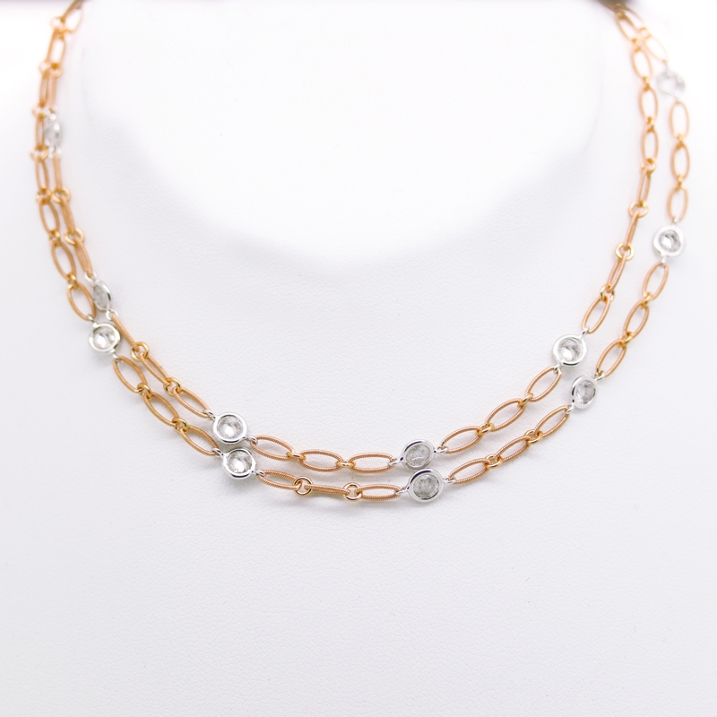 Pink Gold Chain With Milky Diamonds - Item # N0123 - Reliable Gold Ltd.