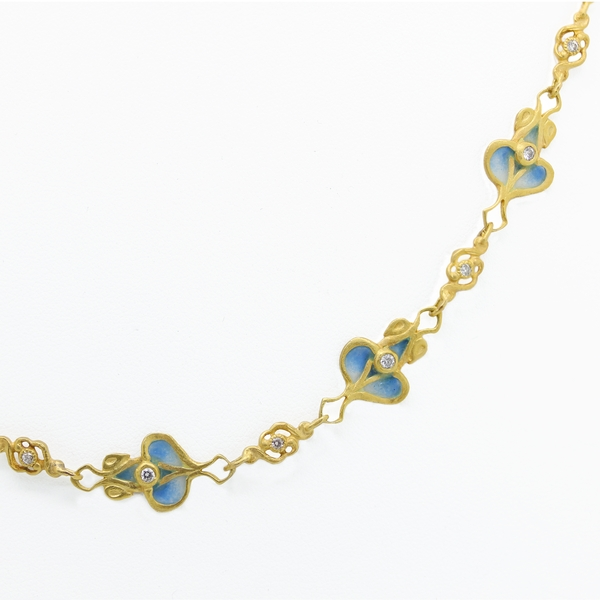 Plique-A-Jour Necklace With Diamonds - Item # N0277 - Reliable Gold Ltd.