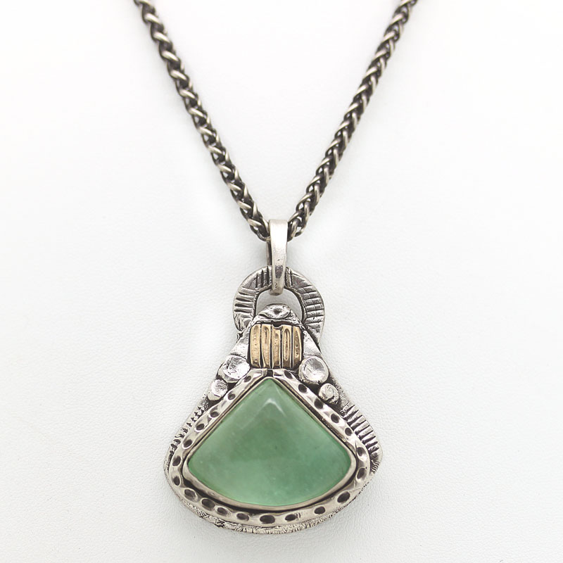 Prehnite Pendant In Fine Silver And Yellow Gold - Item # N0071 - Reliable Gold Ltd.