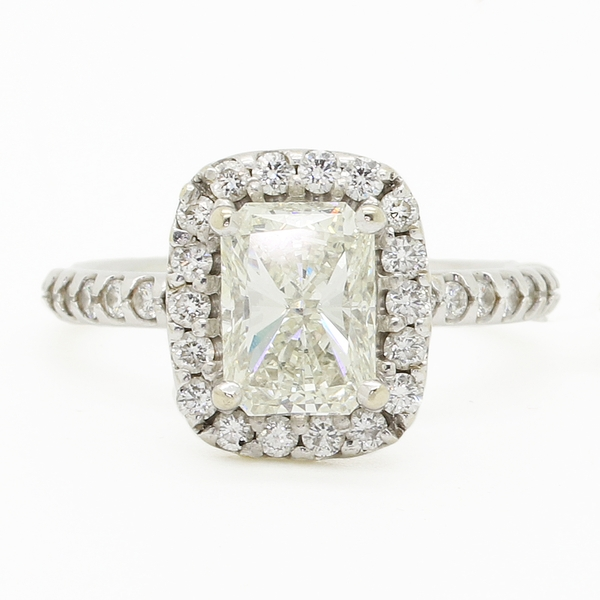 Radiant Cut With Halo Engagement Ring - Item # LPC03 - Reliable Gold Ltd.