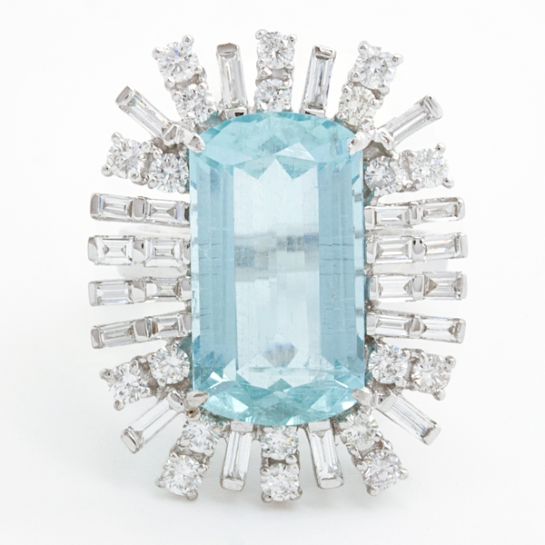 Aquamarine Ring Surrounded By Spokes Of Diamonds - Item # R-HC-5 - Reliable Gold Ltd.