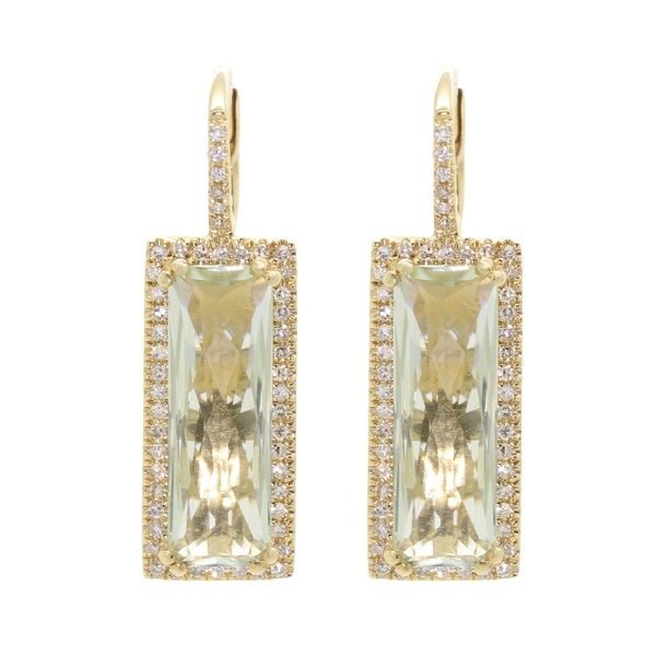 Rectangular Green Amethyst & Diamond Drop Earrings - Item # ER1613 - Reliable Gold Ltd.