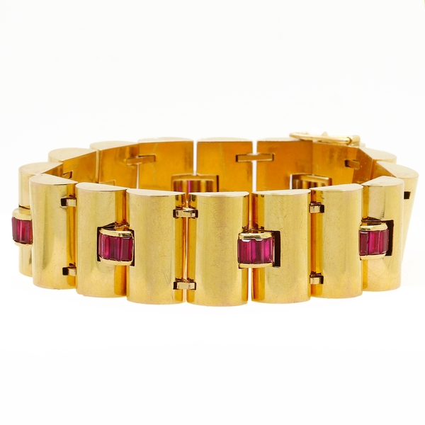 Retro Period Ruby Bracelet - Item # B1328 - Reliable Gold Ltd.