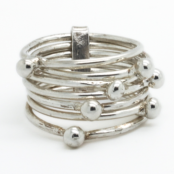 Wide Sterling Silver Band With Rotating Balls - Item # R0245 - Reliable Gold Ltd.