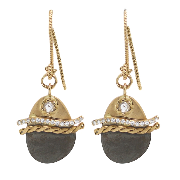 Yellow Gold & Oxidized Silver Drop Earrings With Diamonds - Item # HM0119 - Reliable Gold Ltd.
