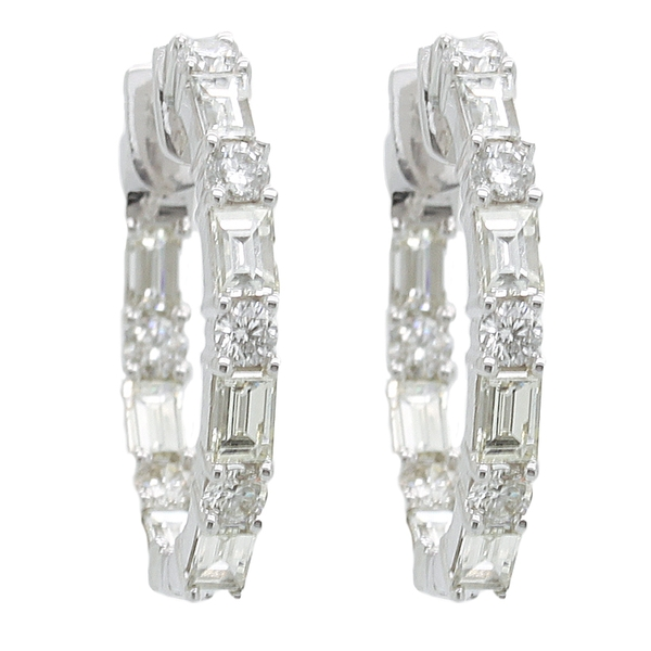 Baguette & Round Diamond Hoop Earrings - Item # ER0370 - Reliable Gold Ltd.