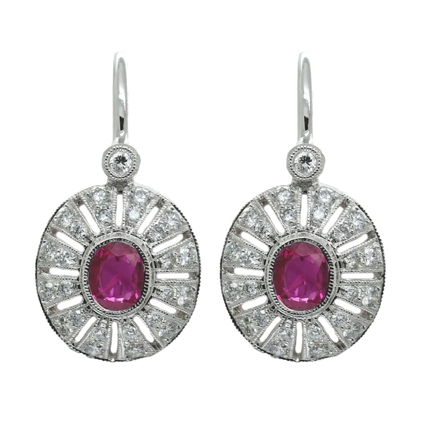 Deco-Style Ruby & Diamond Drop Earrings - Item # ER0479 - Reliable Gold Ltd.