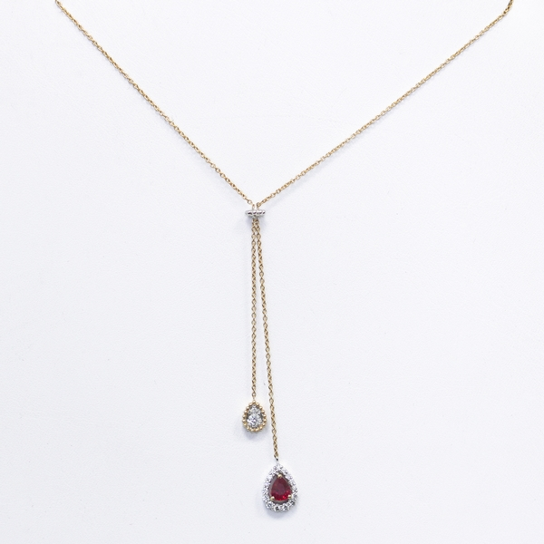 Ruby & Diamond Lariat Necklace - Item # N0243 - Reliable Gold Ltd.