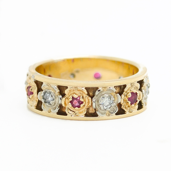 Flower Band With Rubies & Diamonds - Item # R0347 - Reliable Gold Ltd.