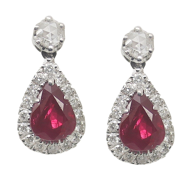 Ruby & Diamond Pear Drop Earrings - Item # ER0289 - Reliable Gold Ltd.