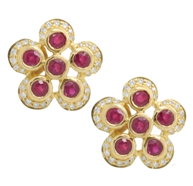 Ruby & Diamond Flower Button Earrings - Item # HM0418 - Reliable Gold Ltd.