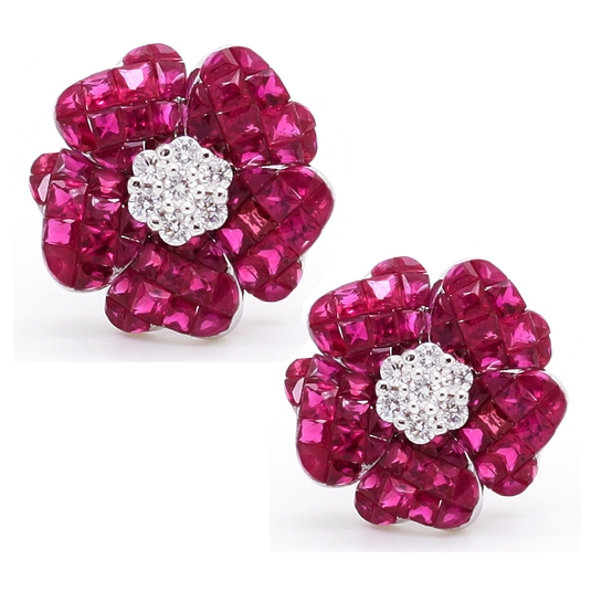 Ruby & Diamond Flower Earrings - Item # CHM021 - Reliable Gold Ltd.