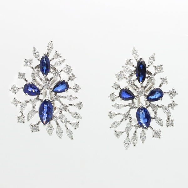 Pear Sapphire & Diamond Earrings - Item # ER0422 - Reliable Gold Ltd.