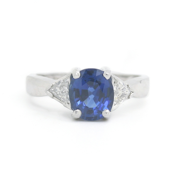 Oval Sapphire & Diamond Ring - Item # R0012 - Reliable Gold Ltd.