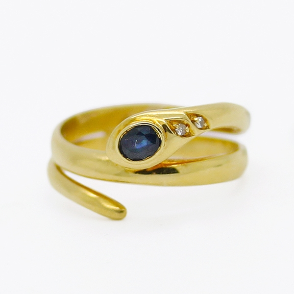 Snake Ring With Sapphire & Diamonds - Item # R0545 - Reliable Gold Ltd.