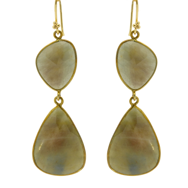 Slab Sapphire Drop Earrings - Item # ER1504 - Reliable Gold Ltd.