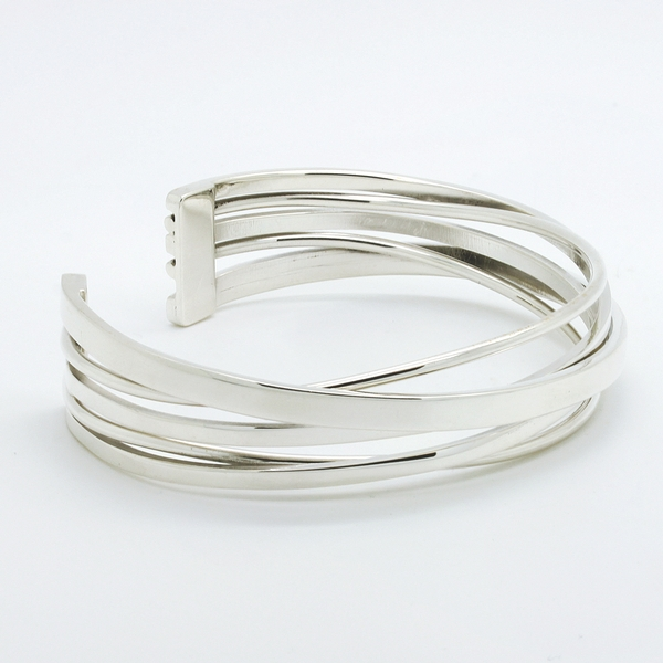 Open Overlapping Row Sterling Silver Cuff Bracelet - Item # B0127 - Reliable Gold Ltd.
